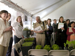 Attendees in the Exhibit and Presentations Tent at Baum Forum Schools Food and Gardening